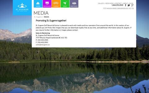 Screenshot of Press Page steugene.ca - Media | St. Eugene Golf Resort & Casino | St. Eugene - captured Nov. 4, 2014