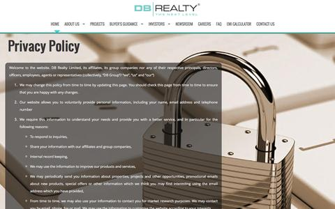 Screenshot of Privacy Page dbrealty.co.in - DB Realty - captured Feb. 8, 2016