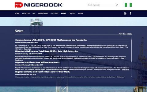Screenshot of Press Page nigerdock.com - Nigerdock - News - captured Oct. 7, 2014