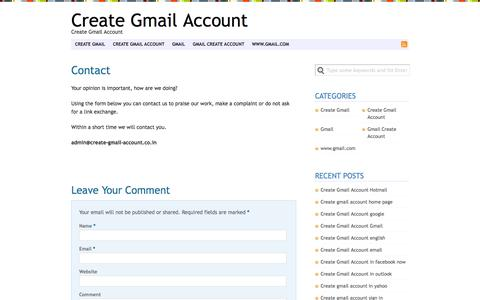 Screenshot of Contact Page create-gmail-account.co.in - Contact | Create Gmail Account - captured Oct. 31, 2014