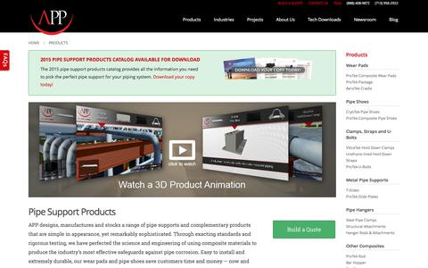 Screenshot of Products Page appinc.co - Composite Pipe Support Products | Pipe Shoes | Wear Pads - captured Feb. 5, 2016