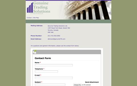 Screenshot of Contact Page genuinecta.com - Genuine Trading Solutions - Contact Us Page - Hedging Solutions For Market And Operational Risk Management - captured Oct. 27, 2014