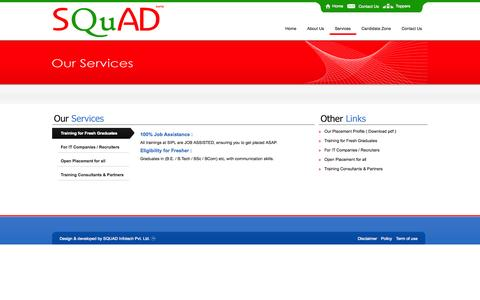 Screenshot of Services Page squadinfotech.in - :: Welcome to SQUAD Infotech :: - captured Oct. 1, 2014