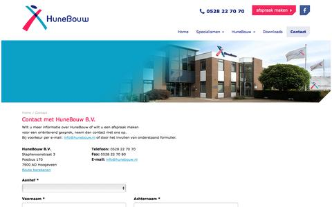 Screenshot of Contact Page hunebouw.nl - HuneBouw | Contact - captured July 18, 2016
