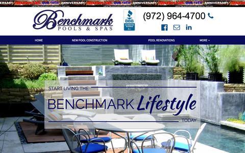 Screenshot of Home Page selectbenchmark.com - Benchmark Pools & Spas - North Texas Pool Builder - Frisco - Prosper - Celina - Fairview - Murphy - Lucas - captured Oct. 10, 2017