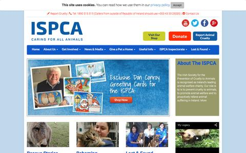 Screenshot of Home Page ispca.ie - ISPCA Ireland - Irish SPCA - Animal Charity - Rescue Dogs, Cats, Pets, Horses - Prevent Animal Cruelty - ISPCA.ie - captured Feb. 2, 2016