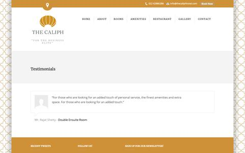 Screenshot of Testimonials Page thecaliphhotel.com - Testimonials | The Caliph Hotel - captured Oct. 20, 2018