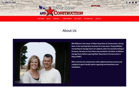 Screenshot of About Page westtexasdoor.com - About | West Texas Door & Construction - captured Nov. 19, 2018