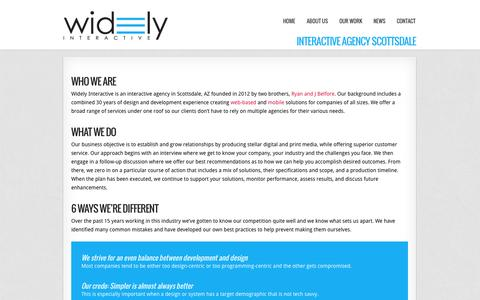 Screenshot of About Page widelyinteractive.com - Interactive Agency Scottsdale | Phoenix | Widely Interactive - captured Oct. 9, 2014