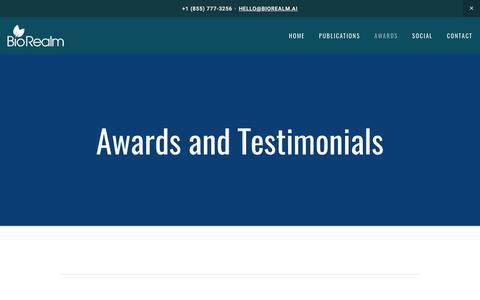 Screenshot of Testimonials Page biorealm.ai - Awards and Testimonials — BioRealm - captured Oct. 10, 2017