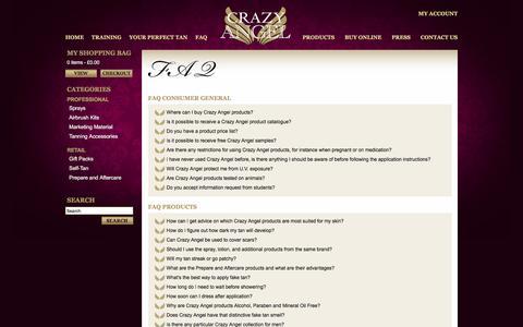Screenshot of FAQ Page crazy-angel.co.uk - Crazy Angel - FAQ - captured May 14, 2016