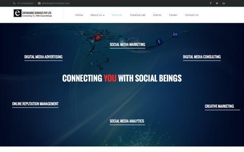 Screenshot of Services Page enthusionz.com - Enthusionz Services Pvt Ltd - Social Media | Digital Marketing Agency | Content Marketing | Online Advertising | Social Media Optimization | Digital Marketing Strategy - captured Nov. 2, 2014