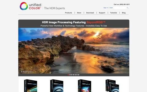 Screenshot of Home Page unifiedcolor.com - HDR Photography | Photo Editing Software & Programs by Unified Color - captured Sept. 17, 2014
