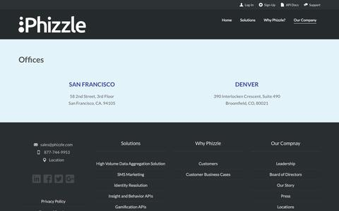Screenshot of Locations Page phizzle.com - Locations   Phizzle - captured Sept. 25, 2017
