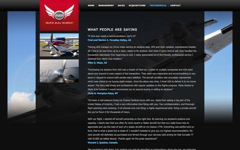 Screenshot of Testimonials Page alphazuluaviation.com - Testimonials |  Alpha Zulu Aviation - captured Sept. 30, 2014