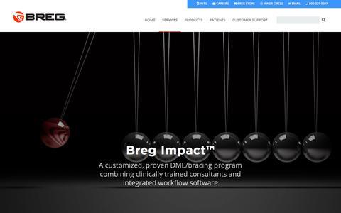 Screenshot of Services Page breg.com - Breg Impact – Breg, Inc. - captured July 22, 2018