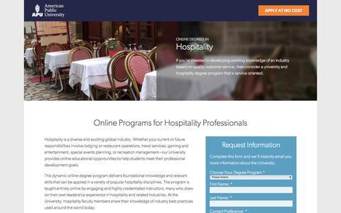 Screenshot of Landing Page apus.edu - Online Hospitality Degrees | American Public University - captured June 2, 2016