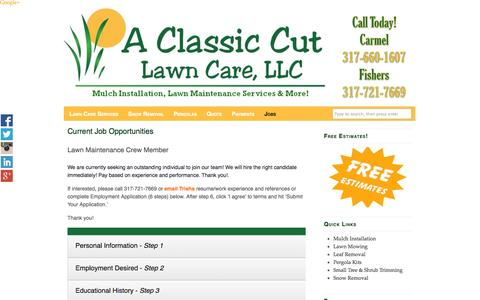 Screenshot of Jobs Page aclassiccutlawncare.com - Current Job Opportunities - Fishers Labor - A Classic Cut Lawn Care - captured Oct. 1, 2014