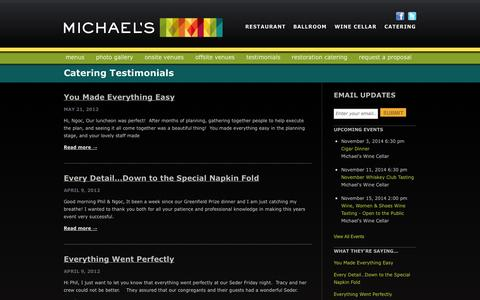 Screenshot of Testimonials Page bestfood.com - Catering Testimonials Archives | Michael's On EastMichael's On East - captured Oct. 27, 2014