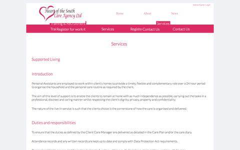 Screenshot of Services Page heartofthesouthcareagency.com - Services - captured July 5, 2017