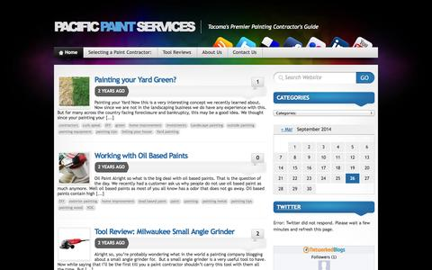 Screenshot of Blog pacificpaintservices.com - Tacoma's Premier Painting Contractor's Guide - captured Sept. 27, 2014
