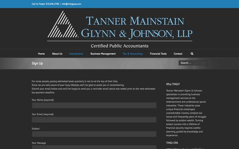 Screenshot of Signup Page tmgjcpa.com - Tanner Mainstain Glynn & Johnson   –  Sign Up - captured Oct. 26, 2014