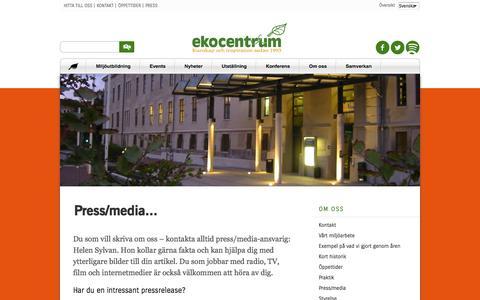 Screenshot of Press Page ekocentrum.se - Press, pressreleaser och logotyp | Ekocentrum - captured Oct. 2, 2014