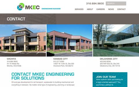 Screenshot of Contact Page mkec.com - Contact MKEC Engineering for Solutions - captured Oct. 1, 2018