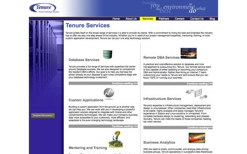 Screenshot of Services Page tenure.com - Tenure Inc. - captured Oct. 26, 2014
