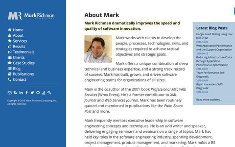 Screenshot of About Page markrichman.com - About Mark - Mark Richman - Cloud Application Performance - captured Nov. 6, 2016