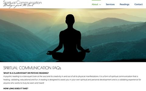 Screenshot of FAQ Page spiritual-communication.com - Spiritual Communication FAQs, Alternative Healing, Psychic & Clairvoyant Readings - captured Dec. 11, 2018