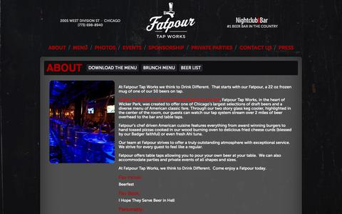 Screenshot of About Page fatpourchicago.com - About · FatPour Chicago - captured Oct. 5, 2014