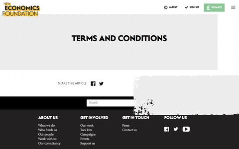 Screenshot of Terms Page neweconomics.org - Terms and conditions - New Economics Foundation - captured Nov. 27, 2016