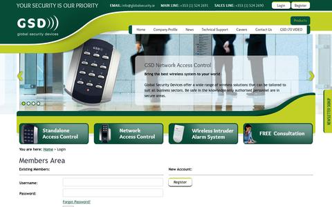 Screenshot of Login Page globalsecurity.ie - Members Login - captured Oct. 2, 2014