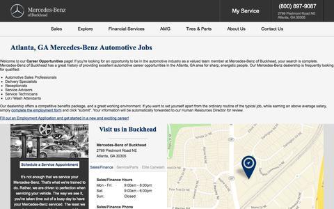 Screenshot of Jobs Page mercedesofbuckhead.com - Mercedes-Benz Atlanta, GA | Automotive Dealership Careers & Jobs at Mercedes-Benz of Buckhead - captured Oct. 1, 2014