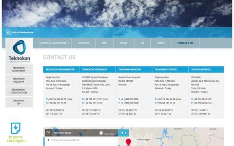 Screenshot of Contact Page teknokon.com - Contact Us | Teknokon Group of Companies - captured Oct. 1, 2014