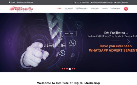 Screenshot of Home Page digitalmarketing.ac.in - Digital Marketing Training Institute in Mumbai, India   Digitalmarketing - captured Nov. 23, 2019