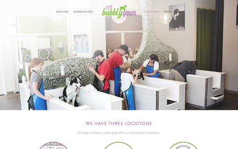 Screenshot of Locations Page bubblypaws.com - Locations — Bubbly Paws // Dog Wash and Grooming // Twin Cities, MN - captured Nov. 23, 2016
