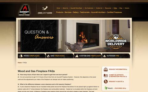 Screenshot of FAQ Page acucraft.com - Wood and Gas Fireplace FAQs Answered by Acucraft Experts - captured Oct. 3, 2018