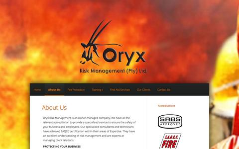 Screenshot of About Page oryxrisk.co.za - About Us - Oryx Risk Management - captured Oct. 9, 2014