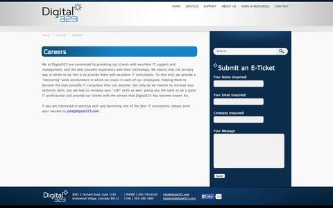 Screenshot of Jobs Page digital323.com - Careers «  Digital323 - captured Oct. 5, 2014