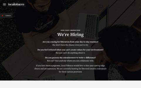 Screenshot of Jobs Page localtobacco.com - Careers   Local Tobacco   Branding and Digital Creative Agency - captured July 22, 2018
