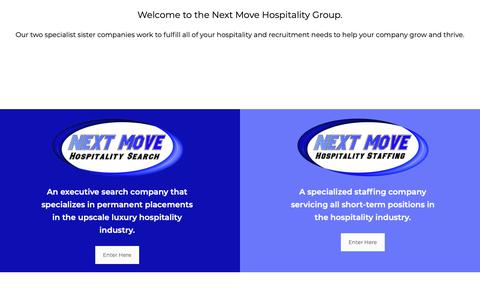 Screenshot of Home Page nextmovehs.com - Next Move Hospitality   Make The Right Move With Next Move! - captured Oct. 18, 2018