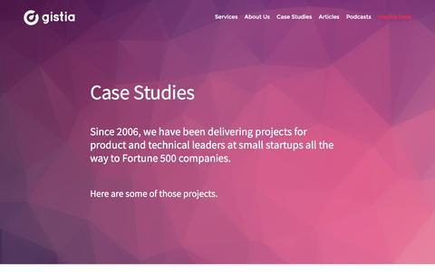 Screenshot of Case Studies Page gistia.com - Case Studies - Gistia LabsGistia Labs - captured Nov. 6, 2016