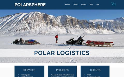 Screenshot of Home Page polarsphere.co.uk - Polar Logistics, Arctic and Antarctic - Greenland Specialists - captured Aug. 8, 2017