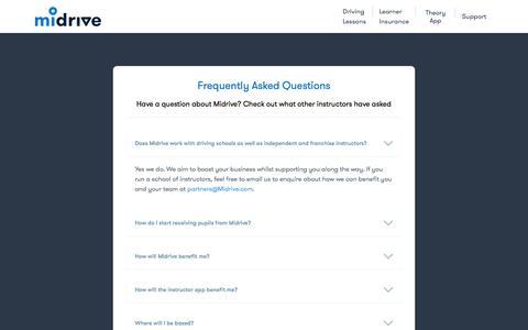 Screenshot of FAQ Page midrive.com - Help and FAQ - Midrive Partners - captured Feb. 18, 2018