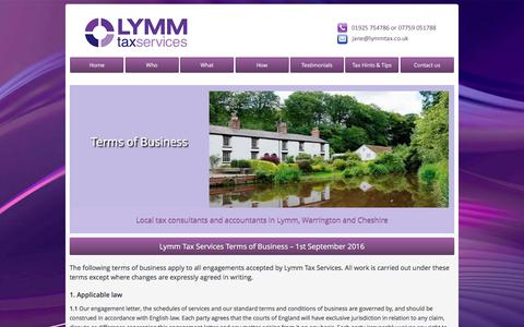 Screenshot of Terms Page lymmtax.co.uk - Terms of Business | Lymm Tax - Warrington - captured May 25, 2017