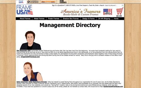 Screenshot of Team Page frameusa.com - Frame USA - Management Directory - captured Nov. 9, 2016