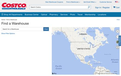 Screenshot of Locations Page costco.com - Find a Costco warehouse- Costco - captured Jan. 12, 2017