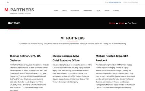 Screenshot of Team Page mpartners.ca - Our Team - captured Feb. 2, 2016
